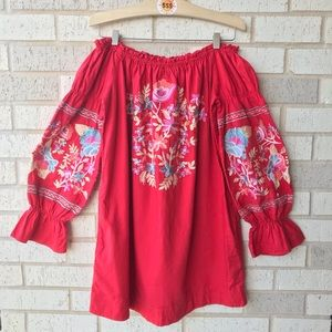 NWT Free People Red Embroidered Off Shoulder Dress